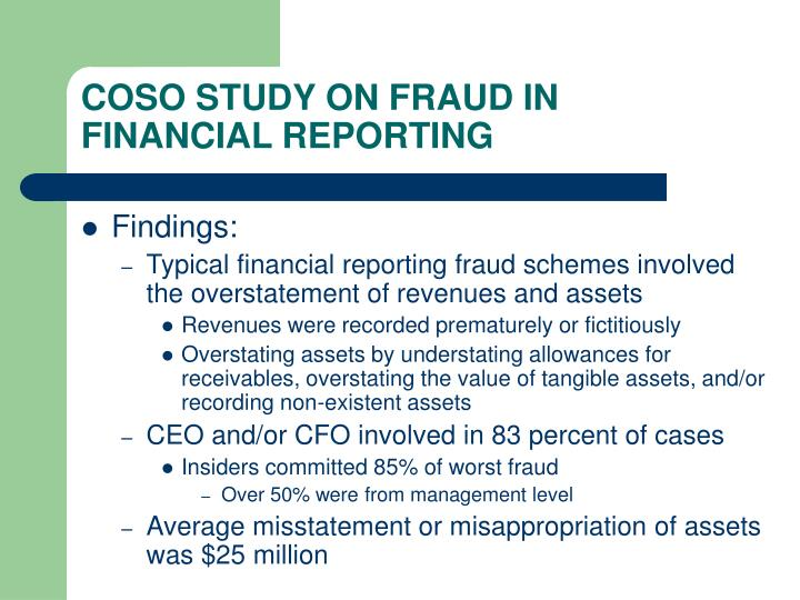COSO STUDY ON FRAUD IN FINANCIAL REPORTING