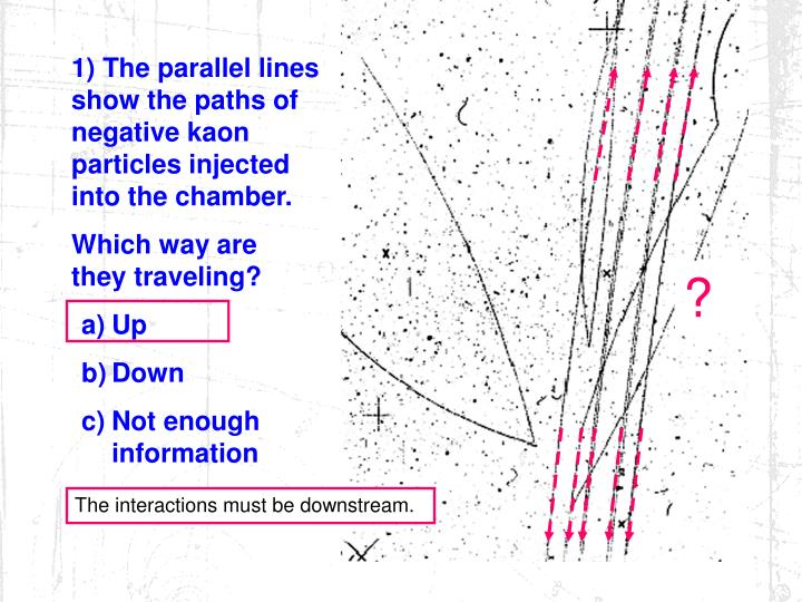 1) The parallel lines show the paths of  negative kaon