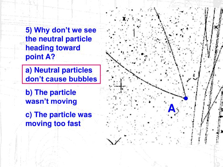 5) Why don't we see the neutral particle heading toward point A?