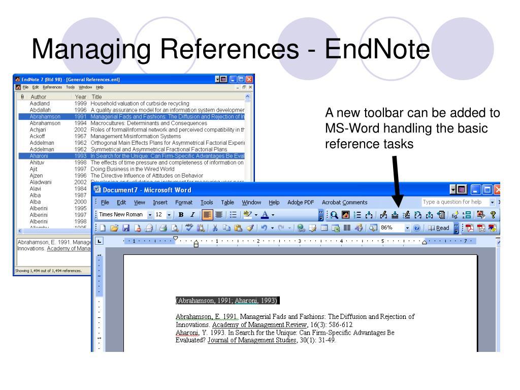 Managing References - EndNote