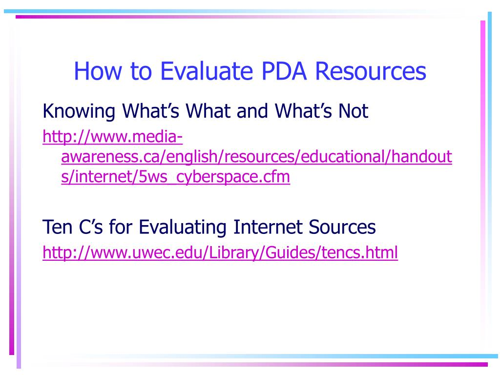 How to Evaluate PDA Resources