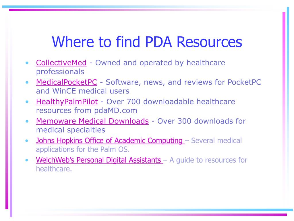 Where to find PDA Resources