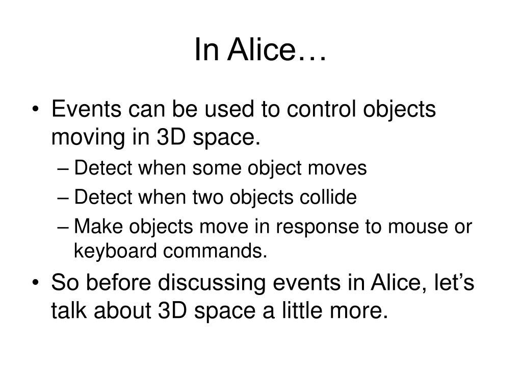 In Alice…
