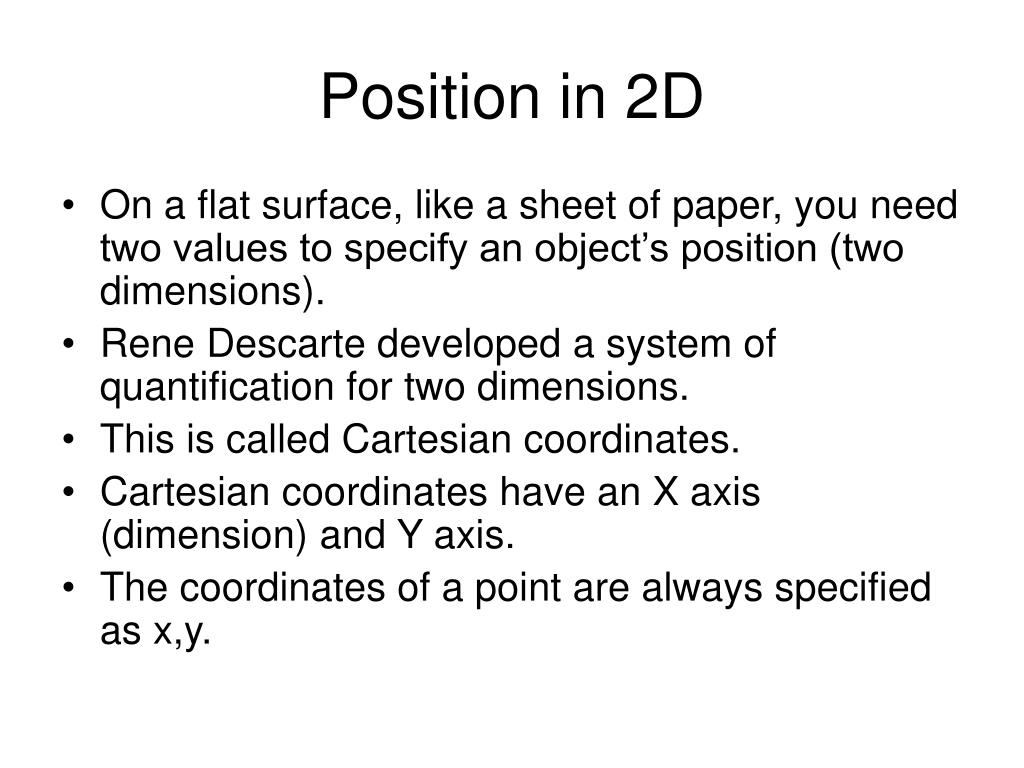 Position in 2D