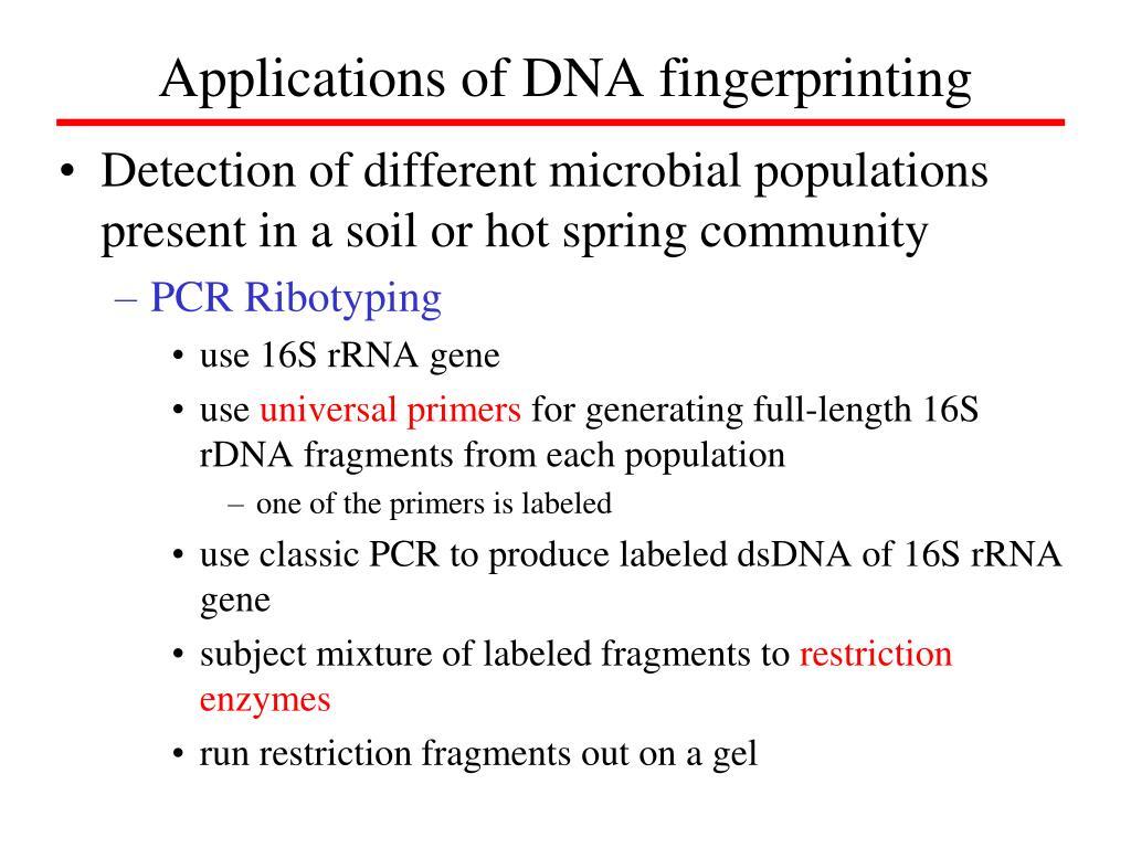 Applications of DNA fingerprinting
