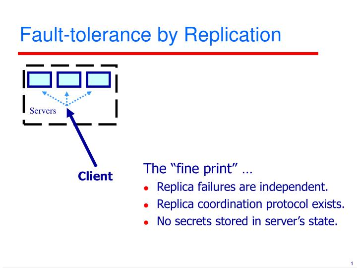 Fault tolerance by replication