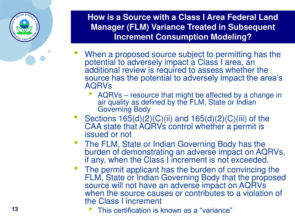 How is a Source with a Class I Area Federal Land Manager (FLM) Variance Treated in Subsequent Increment Consumption Modeling?