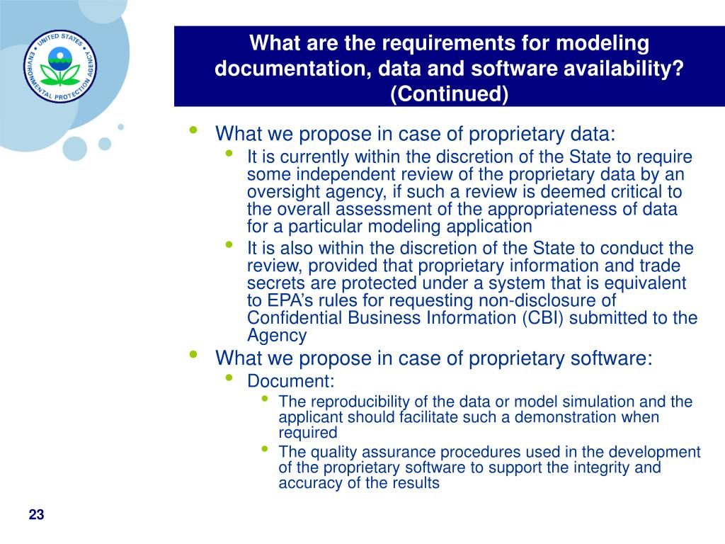 What are the requirements for modeling documentation, data and software availability? (Continued)