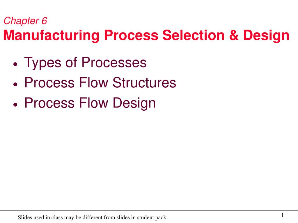 chapter 6 manufacturing process selection design l.