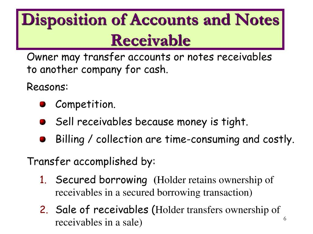 Disposition of Accounts and Notes Receivable