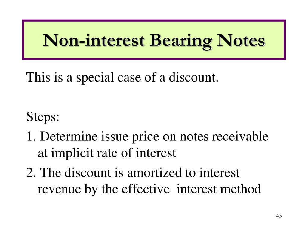 Non-interest Bearing Notes