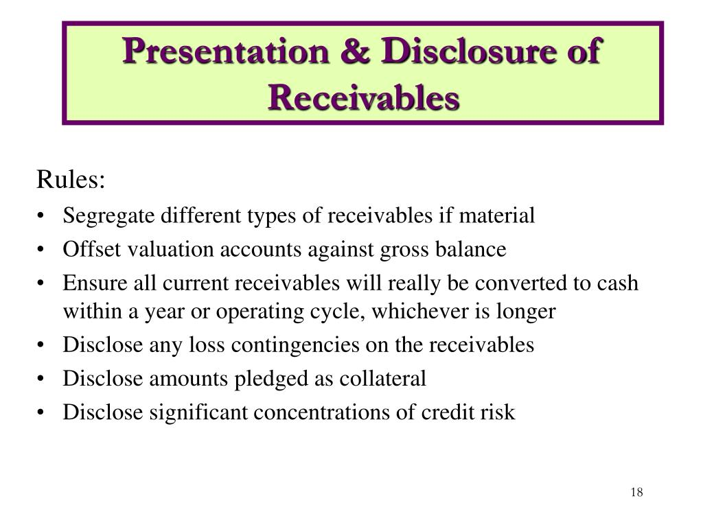 Presentation & Disclosure of Receivables