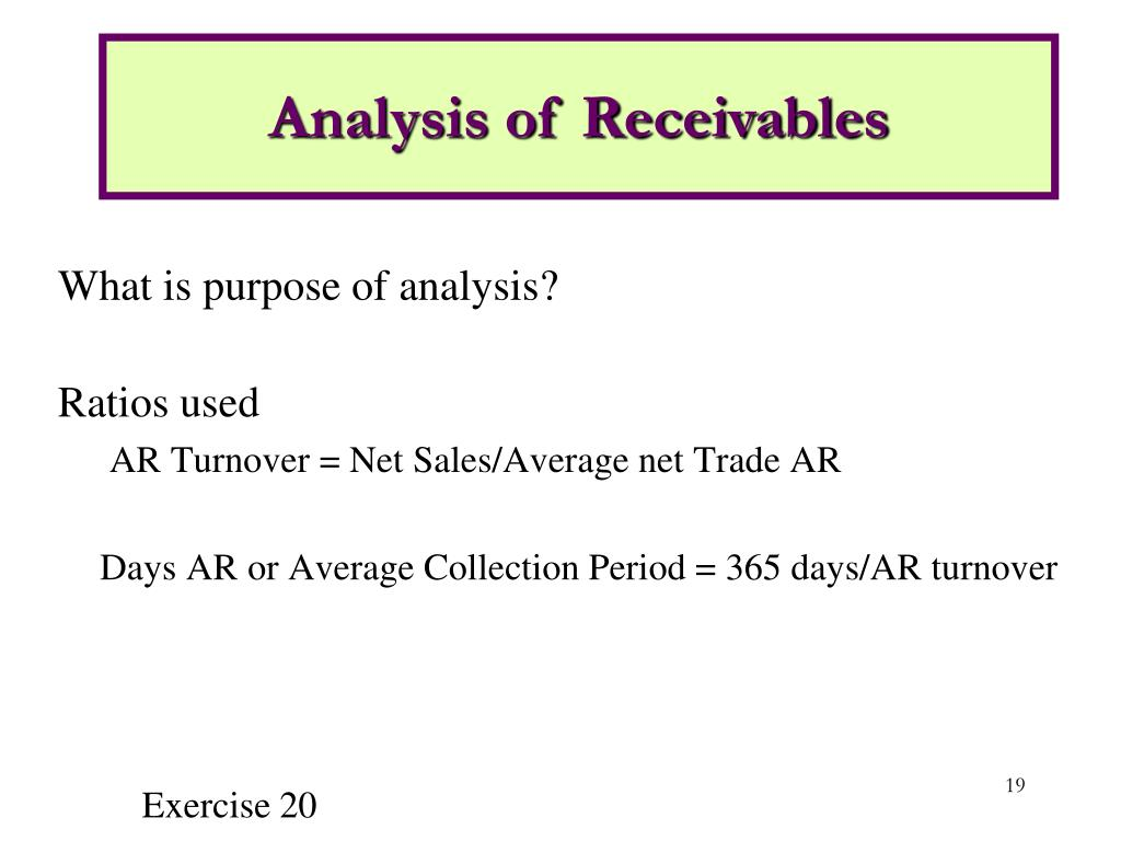 Analysis of Receivables