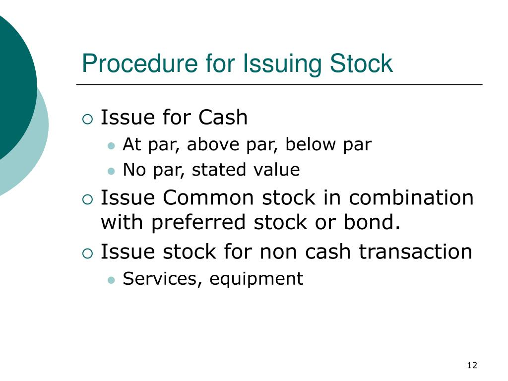Procedure for Issuing Stock