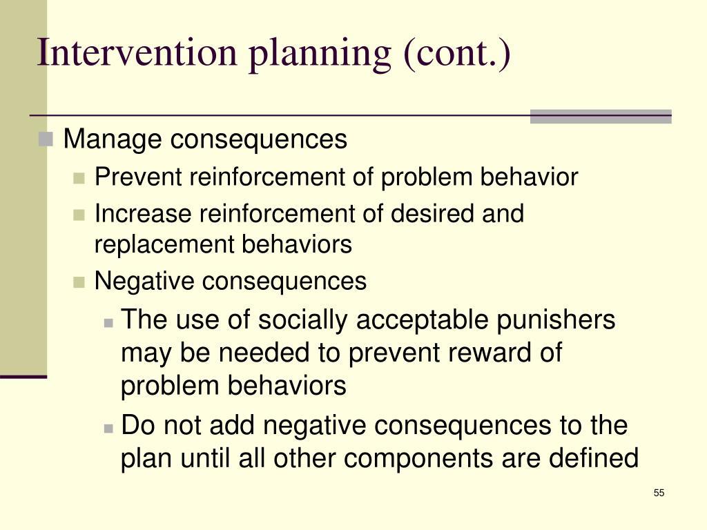 Intervention planning (cont.)