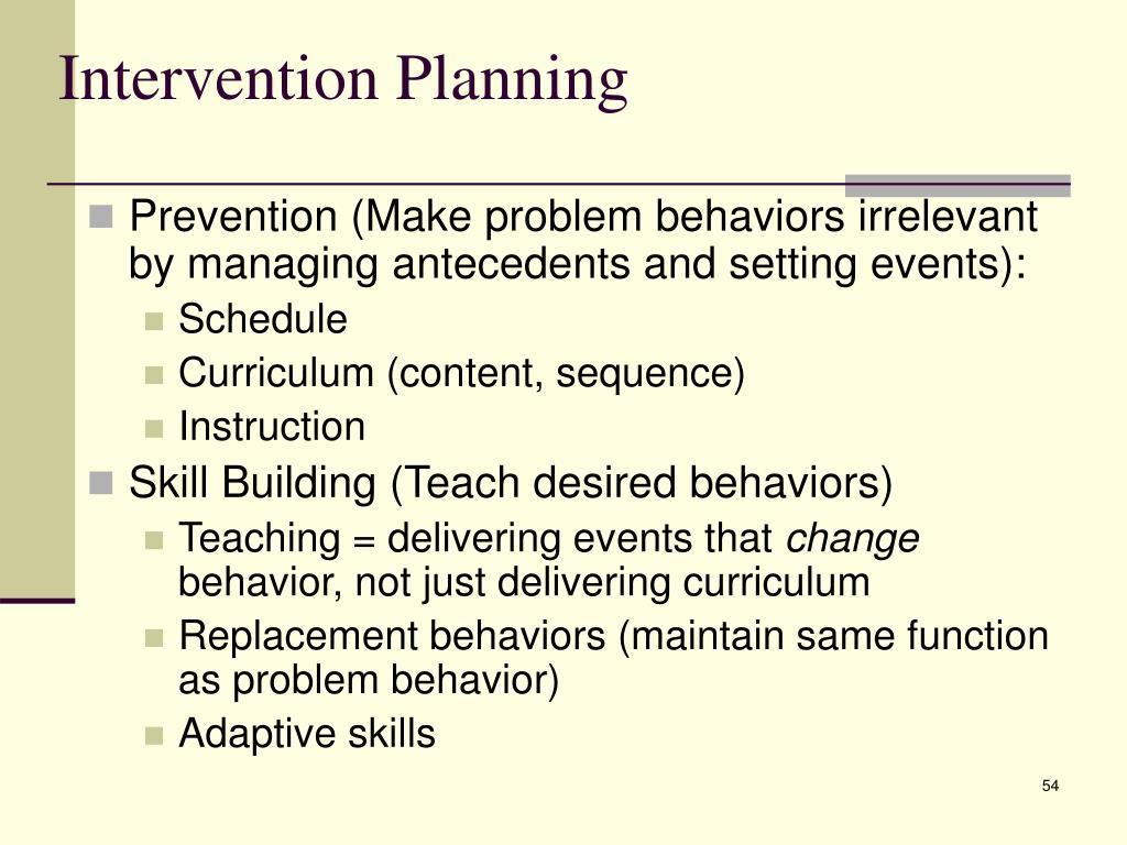 Intervention Planning