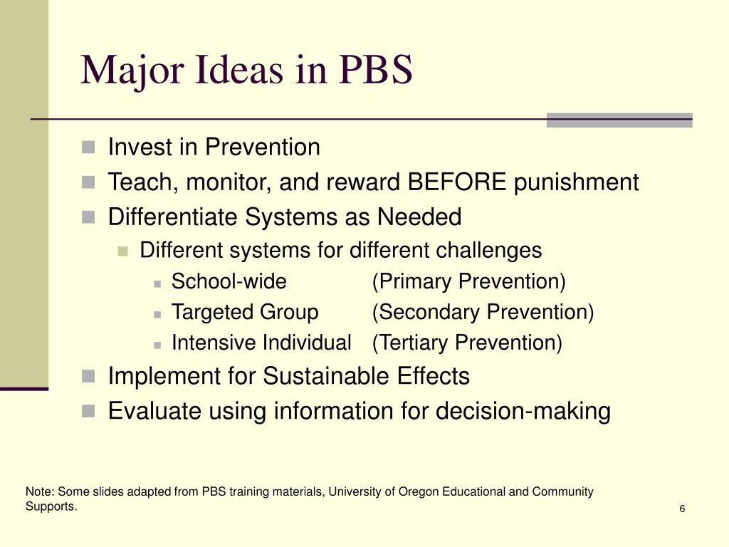 Major Ideas in PBS