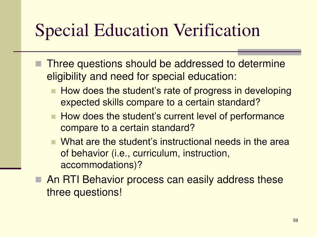 Special Education Verification