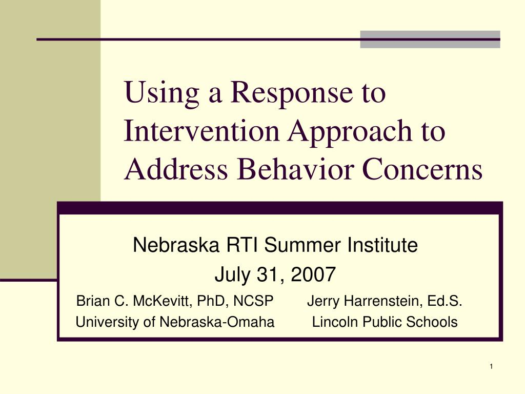 Using a Response to Intervention Approach to Address Behavior Concerns
