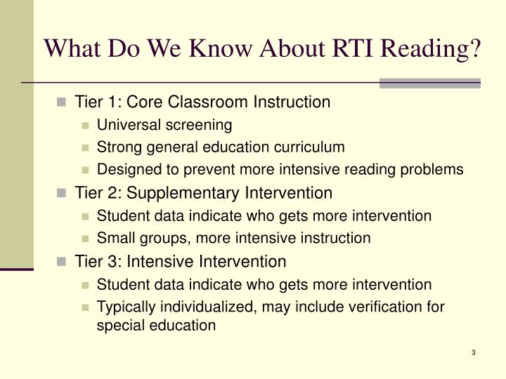 What do we know about rti reading