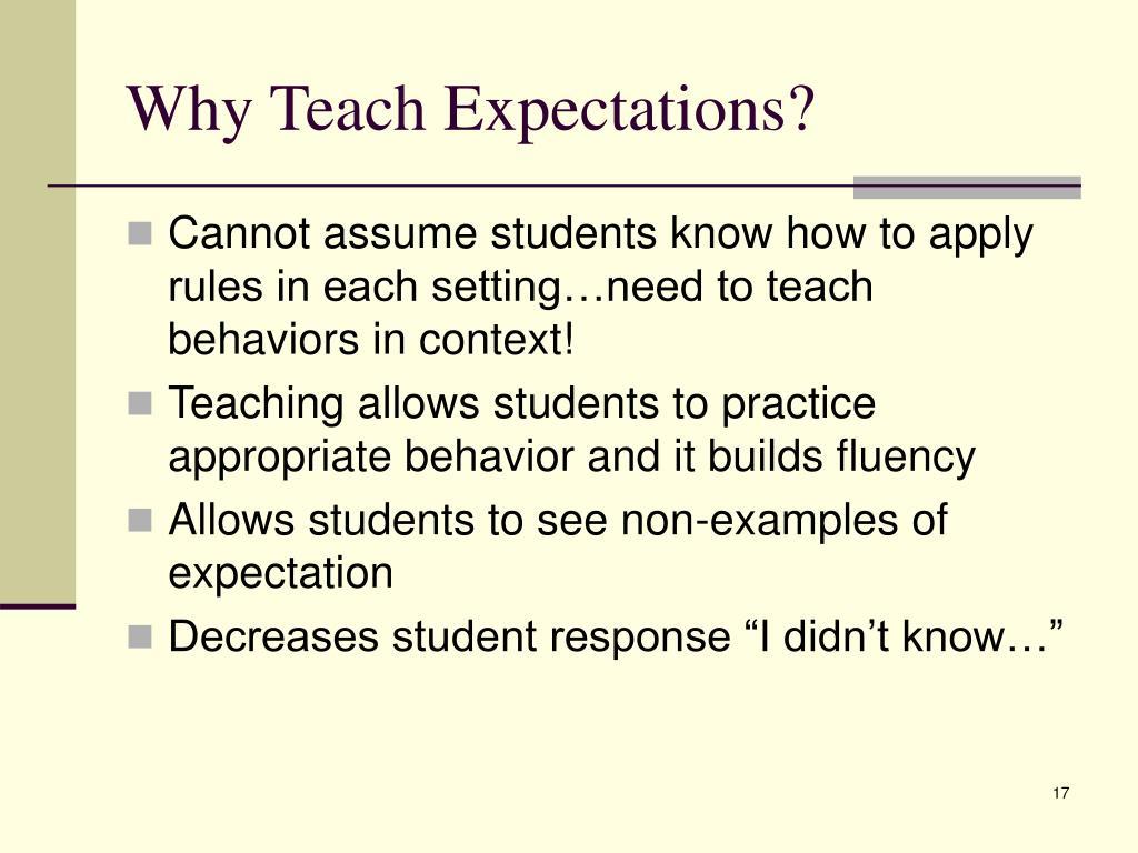 Why Teach Expectations?