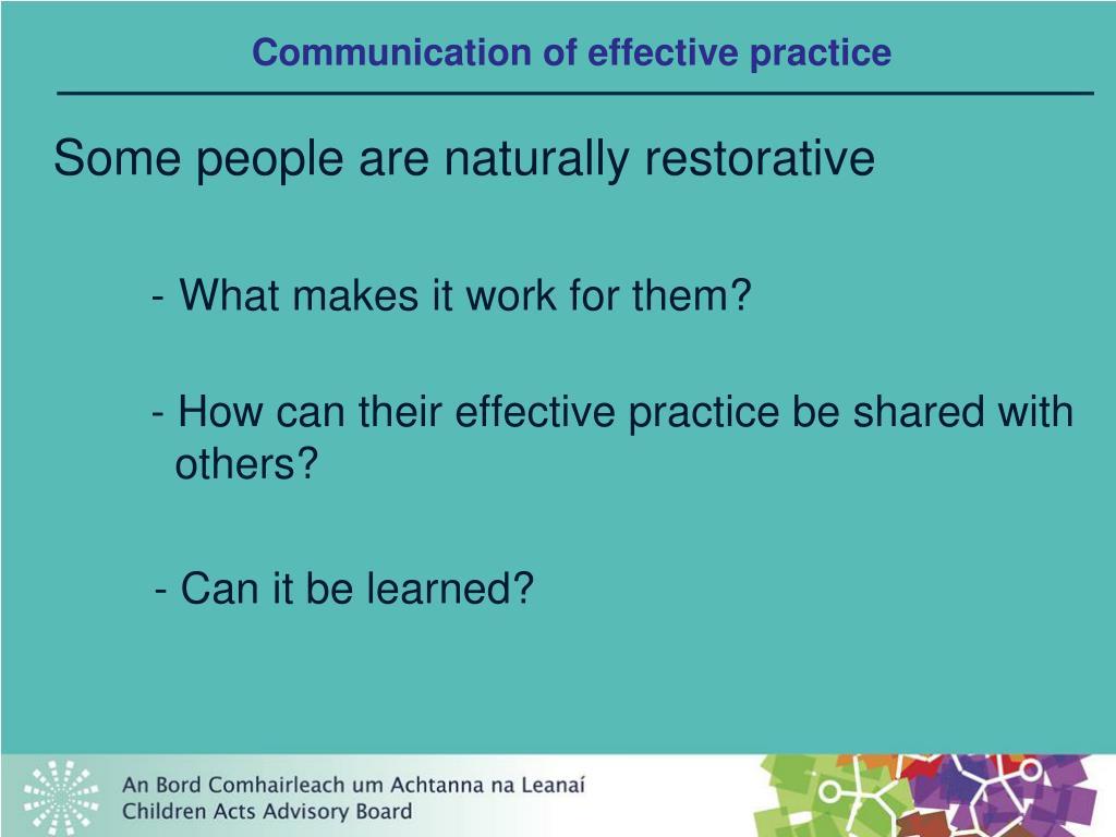 Communication of effective practice