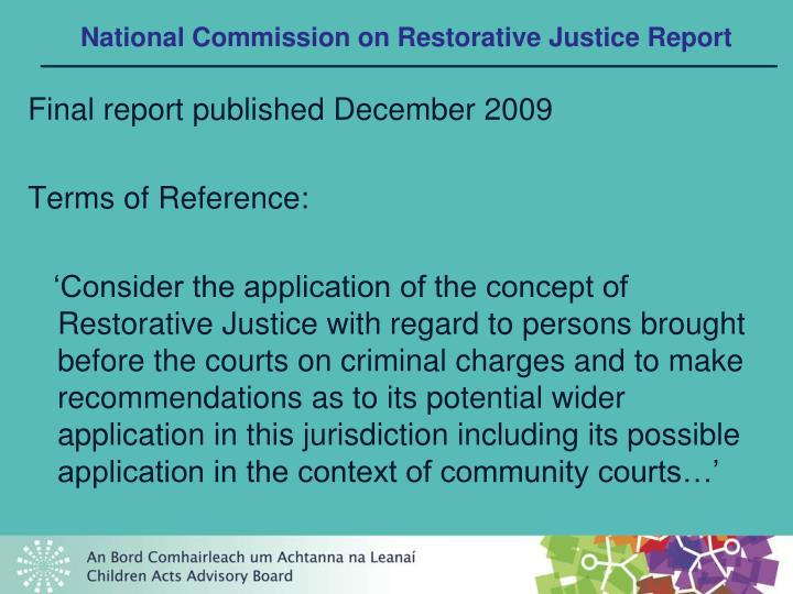 National commission on restorative justice report