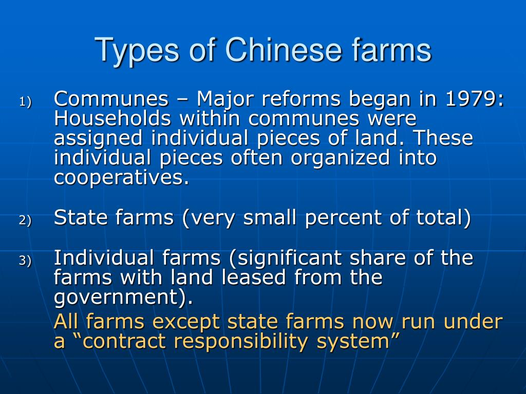Types of Chinese farms