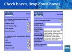 check boxes drop down boxes
