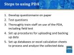 steps to using pda