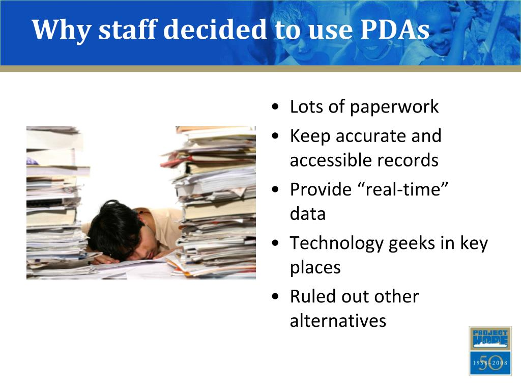 Why staff decided to use PDAs