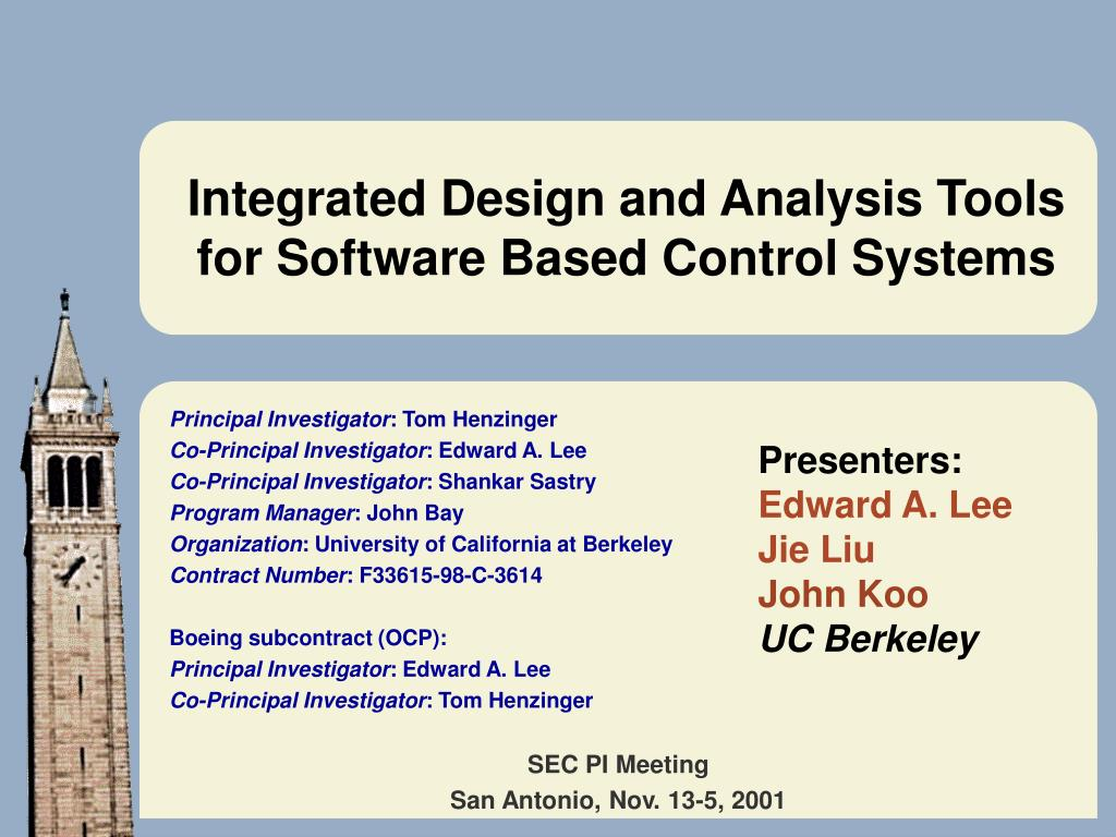 integrated design and analysis tools for software based control systems l.