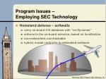 program issues employing sec technology