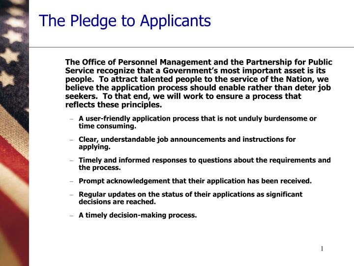 The pledge to applicants