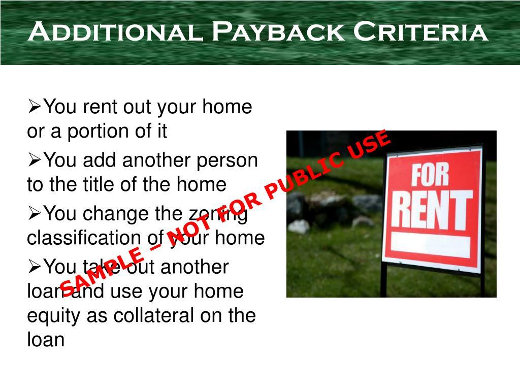 Additional Payback Criteria