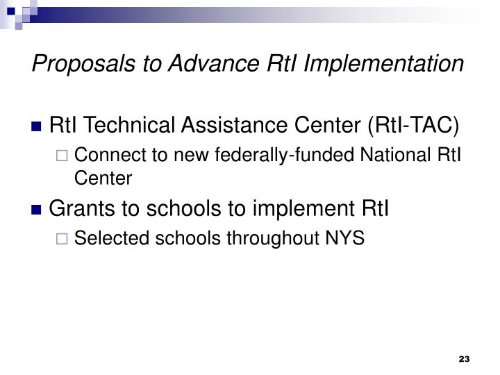 Proposals to Advance RtI Implementation