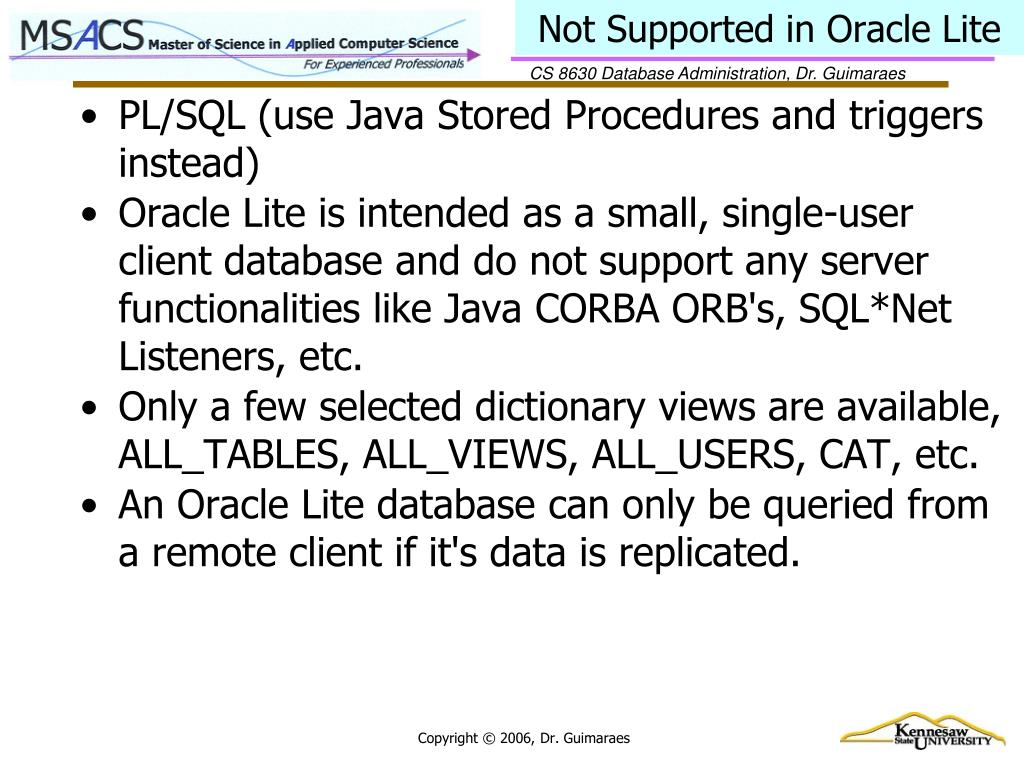 Not Supported in Oracle Lite
