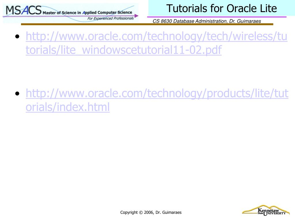Tutorials for Oracle Lite