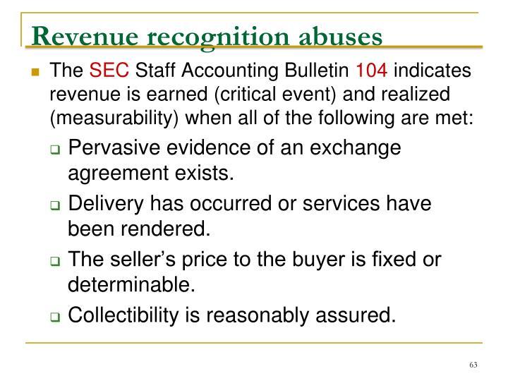 Revenue recognition abuses