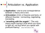 articulation vs application