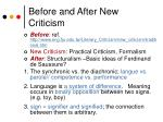 before and after new criticism
