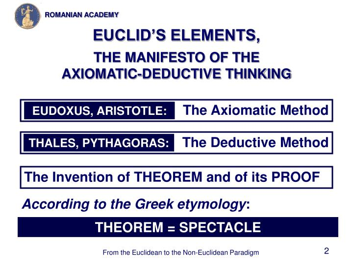 Euclid s elements the manifesto of the axiomatic deductive thinking