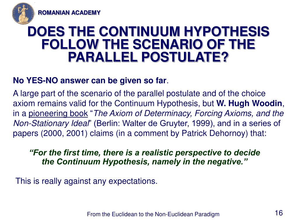 DOES THE CONTINUUM HYPOTHESIS FOLLOW THE SCENARIO OF THE PARALLEL POSTULATE?