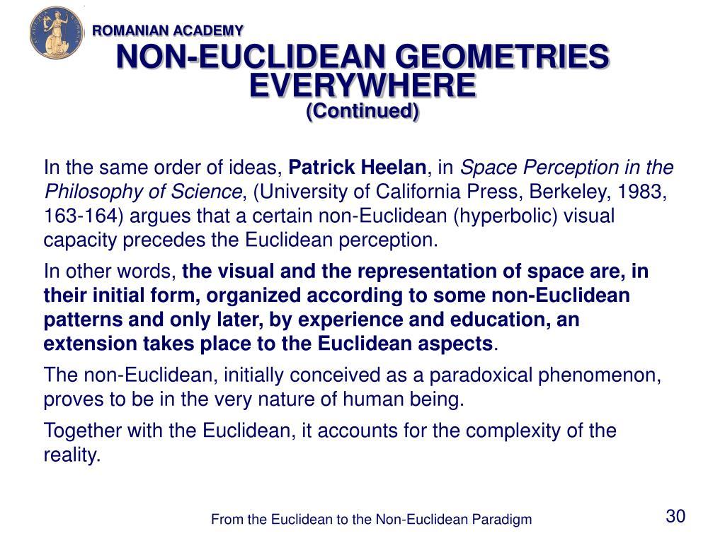 NON-EUCLIDEAN GEOMETRIES EVERYWHERE
