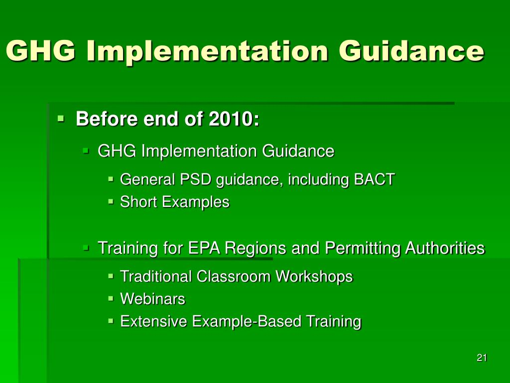 GHG Implementation Guidance