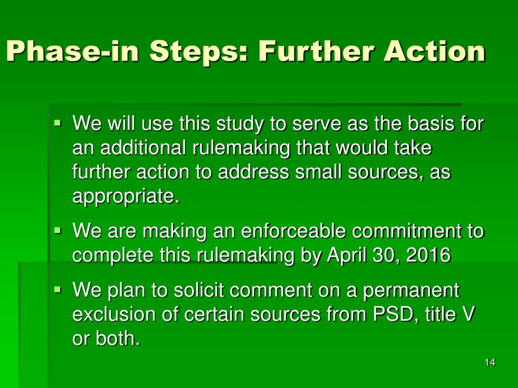 Phase-in Steps: Further Action