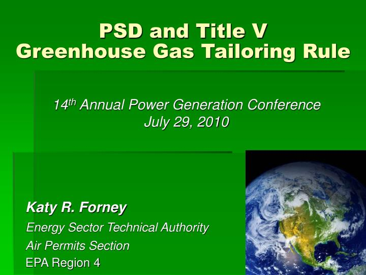 Psd and title v greenhouse gas tailoring rule