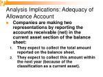 analysis implications adequacy of allowance account
