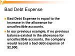 bad debt expense