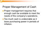 proper management of cash